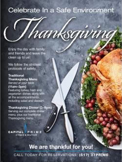 Capital Prime Thanksgiving 2020 Flyer