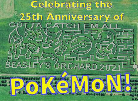 Beasley's Orchard commemorates with 25th anniversary of Pokemon with their corn maze! (Photo courtesy of Beasley's Orchard Facebook page)