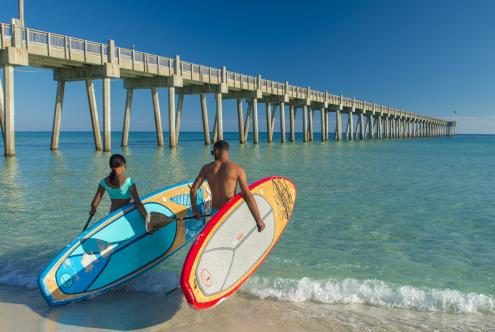 Paddleboarders at Pensacola Beach Pier