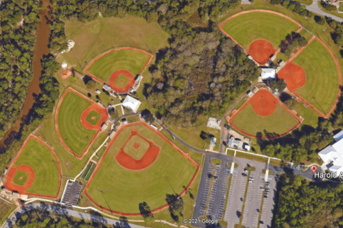 Aerial of Harold Avenue Regional Park Softball Fields
