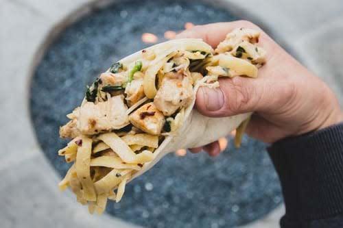 chicken alfredo pasta  taco