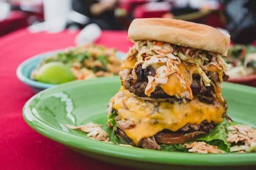 double decker Pulled Pork Burger