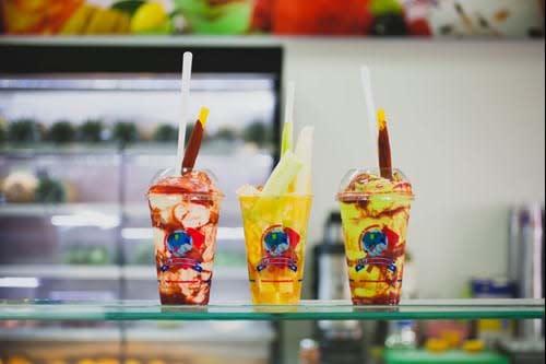 Gazpacho Cups at La Michoacana Premium
