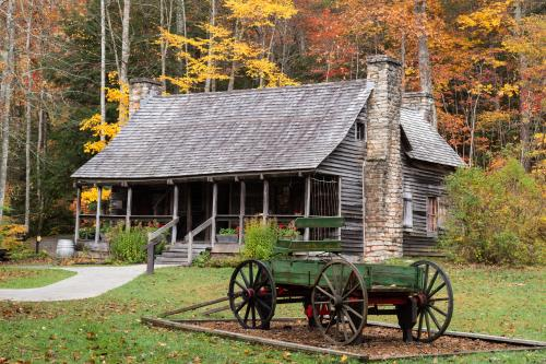 Fall color provides the backdrop for the Cradle of Forestry historic site in Pisgah National Forest
