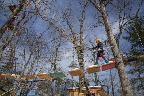 Winter fun at the Treetops Adventure Park at the Adventure Center of Asheville
