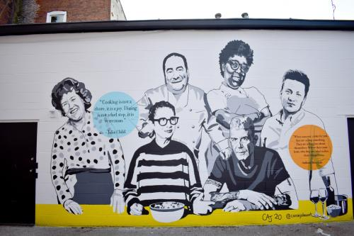 New mural on MESA, A Collaborative kitchen honoring great chefs by Carrie Johns Art.