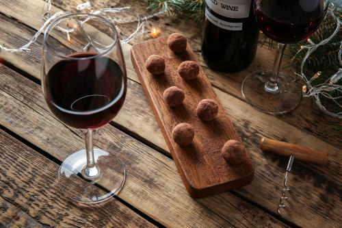 Chocolate Lover's Weekend at Huber's Winery with wine and chocolate truffles