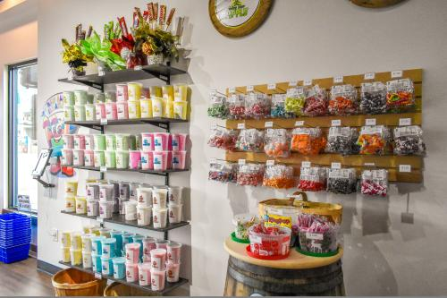 Display of candy bags and containers at Mrs and Mr Cotton Candy