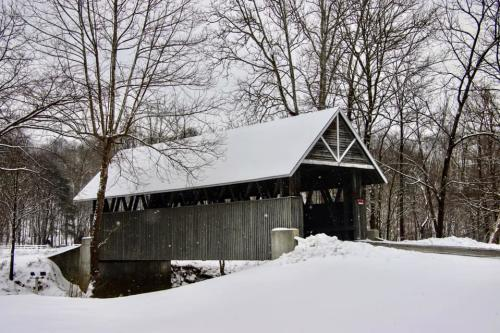 Jackie Engle Miller Covered Bridge at Wooded Glen Winter Snow