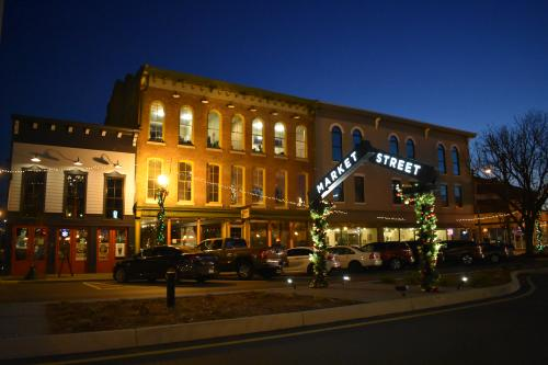 Downtown Jeffersonville with Christmas Lights at night
