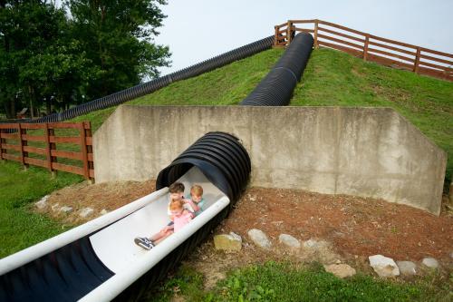 Kids existing the Huber Slide