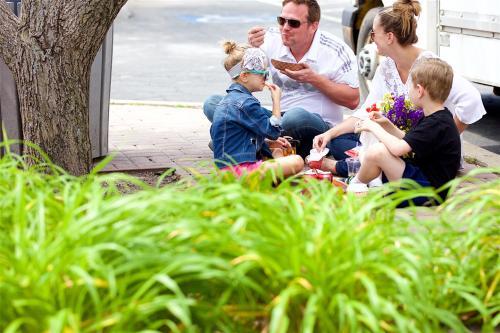 family at farmers market