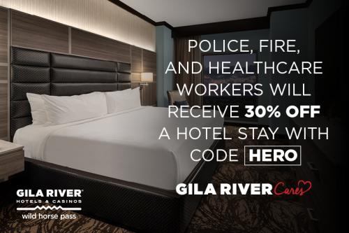 Police, fire, and healthcare workers will receive 30% off a hotel stay with code HERO at Gila River Hotels & Casinos