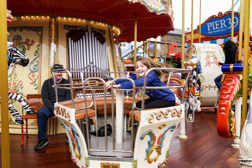 Riding the Tea Cups on the PIER 39 Carousel
