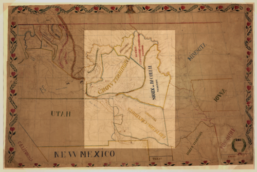 De Smet's map depicting the tribal lands set apart in the Fort Laramie Treaty of 1851.