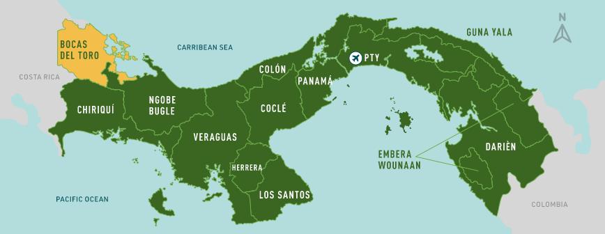Bocas del Toro map