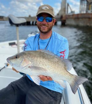 Capt. Brian Barrera with one of several stud mangrove he caught using a Shimano Coltsniper Hi Pitch topwater. www.inshorefishingsouthpadre.com