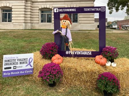 Sheltering Wings Scarecrow at Hendricks County Courthouse Square