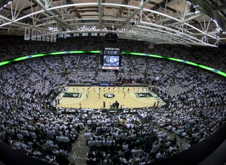 Breslin Arena During Basketball Game with Dancers on the Floor