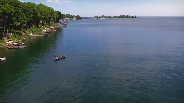 aerial view of Lake Ontario in Cayuga County