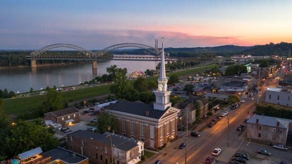 Downtown Town Clock Church Drone