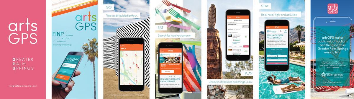 Mobile phones showing the artsGPS app