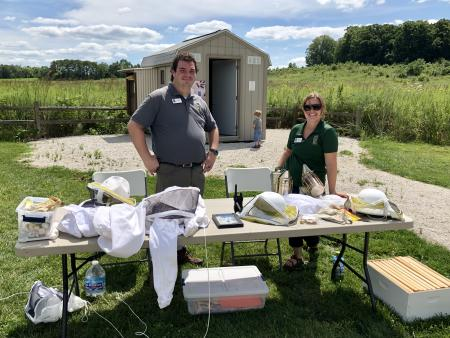 Hendricks County Parks & Recreation naturalists are happy to teach you about bees and show you around the Bee House during the McCloud Bee Fest.