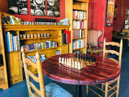 Chess table at Speakeasy Books and More