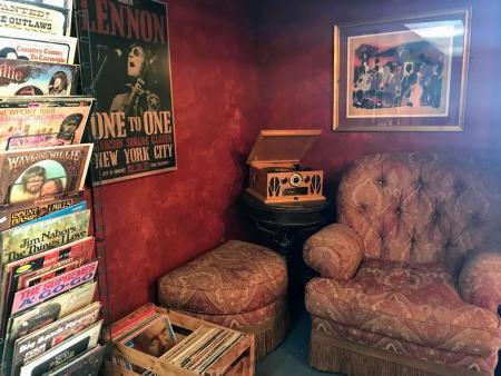 Record corner at Speakeasy Books and More