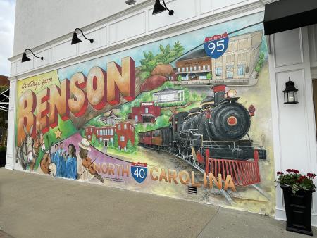 New Benson Mural; it looks like a vintage postcard sent from Benson.