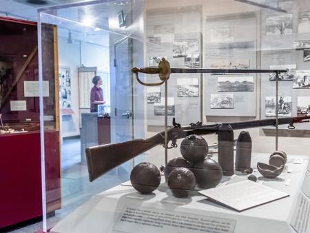 Interior exhibits at Bentonville Battlefield State Historic Site near Four Oaks, NC.