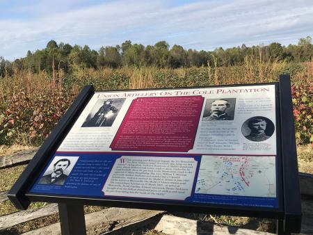 Cole Plantation Civil War Trail Marker at Bentonville Battlefield near Four Oaks, NC.