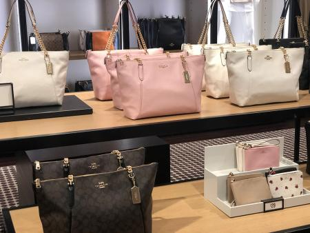 Coach bag display at the Coach Outlet at Carolina Premium Outlet, Smithfield, NC.