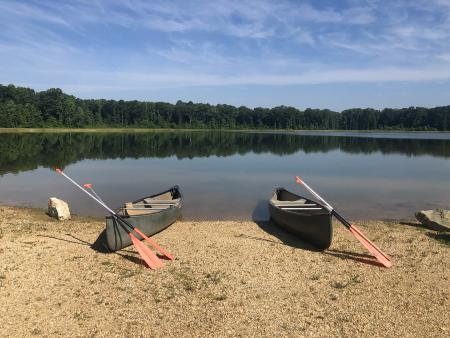 Canoes at Howell Woods Lake in Four Oaks, NC.
