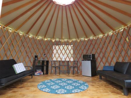 interior view of a yurt at AJ jolly park in Alexandria ky