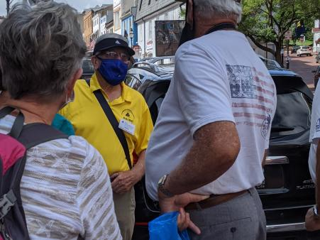 John Barry shows visitors where to go in Annapolis