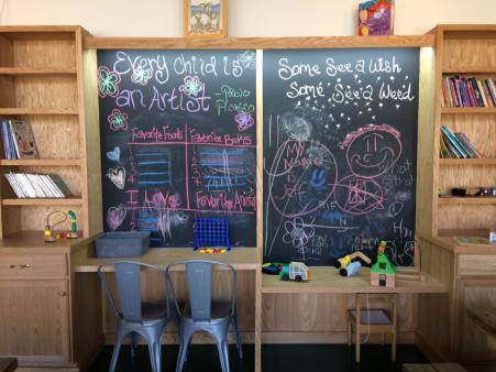 the gruff restaurant in covington ky showcases a kid friendly restaurant corner with activities and kid tables.