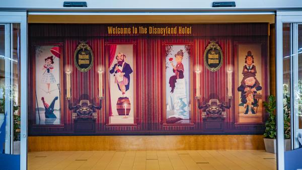 Image of Haunted Mansion posters hung up inside Disneyland Resort Hotel