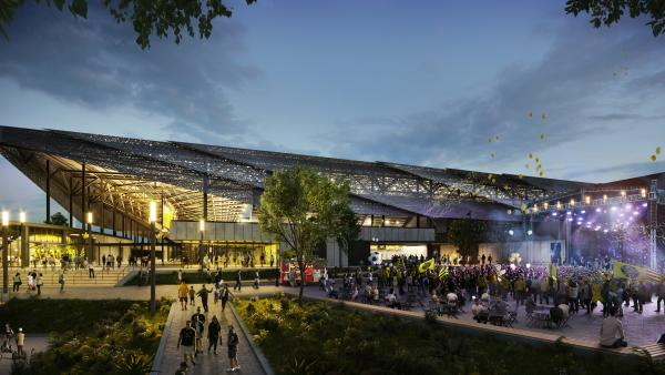 A rendering of the new Columbus Crew SC stadium located in the Arena District in downtown Columbus