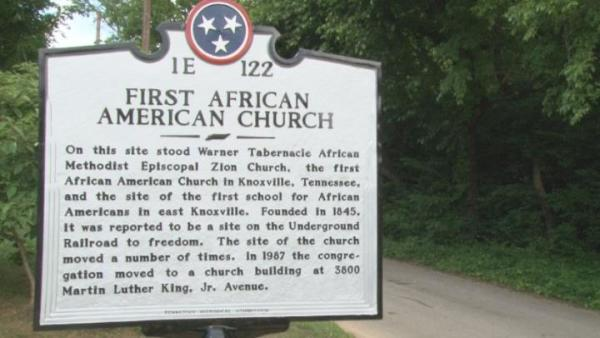 Plaque of First African American Church at Greater Warner Tabernacle AME Zion Church in Knoxville, TN