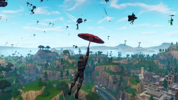 Man parachuting into scene in Fortnite video game