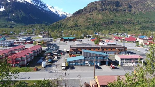 looking town on the town of Valdez from a hill