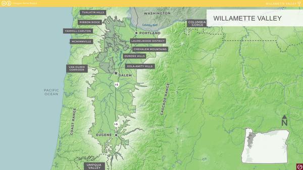 Willamette Valley AVA Map