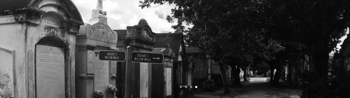 Black and white photo of a cemetery from Southern Ghost Girls