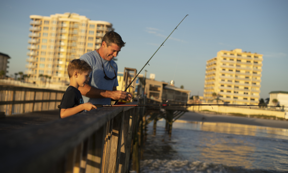 Father and Son Pier Fishing