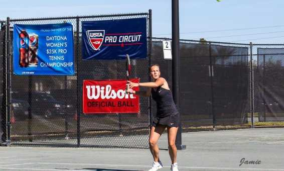 A player at the Florida Tennis Center's Pro Women's Circuit Tournament.