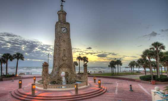 Historic Coquina Clock Tower on Boardwalk