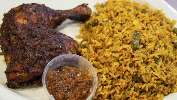 Traditional African rice and chicken