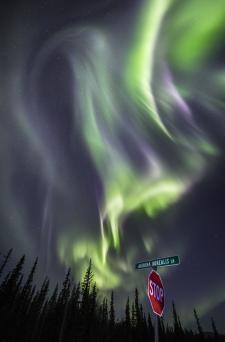 Aurora Borealis street sign