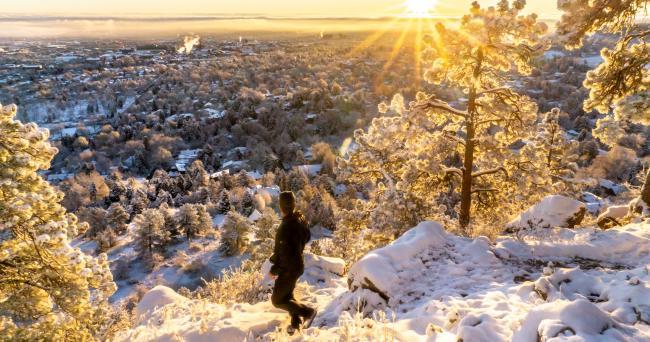Winter Hiker with Sunshine
